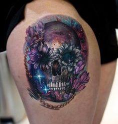 Galaxy skull tattoo by Mikhail Anderson