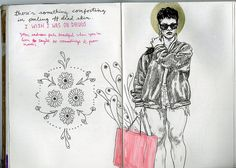 art journal 8 pages 55-56 on Flickr. when you feel like shit, draw your favorite bad bitch.