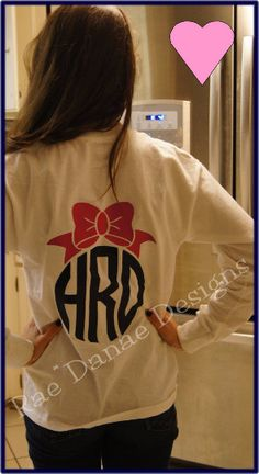 Custom Bow Monogrammed White Tee...SHORT SLEEVE by RaeDanaeDesigns
