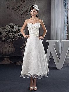 Tea Length Strapless Satin Wedding Dress with Sheer Lace Overlay - USD $129.00