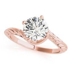 Transcendent Brilliance Curved Band Solitaire Diamond Engagement Ring 1/2 TDW (Rose - Size 4), Women's, Pink
