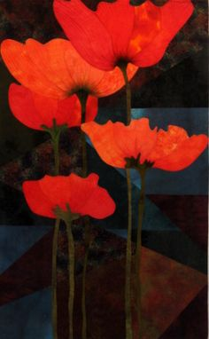 Quilted Poppy Series by Juanita Yeager - Talented, charming innovative. Watercolor Quilt, Floral Watercolor, Skinny Quilts, Landscape Art Quilts, Colorful Quilts, California Poppy, Textiles, Hawaiian Flowers, Remembrance Day