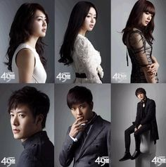 49 Days--still images of the cast'  From left: Song Yi Kyung (Lee Yo Won); Shin Ji Hyun (Nam Gyu Ri); Shin In Jung (Seo Ji Hye); Han Kang (Jo Hyun Jae); Kang Min Ho (Bae Soo Bin); Scheduler/Song Yi Soo (Jung Il Woo)