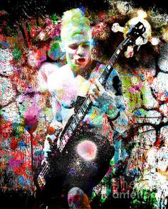 Flea - Red Hot Chili Peppers - Original Painting Print Print By Ryan Rabbass