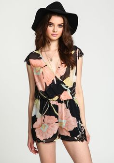 Sheer Watercolor Floral Lacy Romper - Love Culture