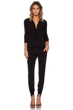 MONROW Crepe Long Sleeve Jumpsuit in Black | REVOLVE
