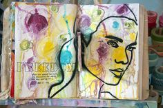 Donna Downy creates a page using Julie Fei-Fan Balzer Three Quarter stencil Iw8.14.13-