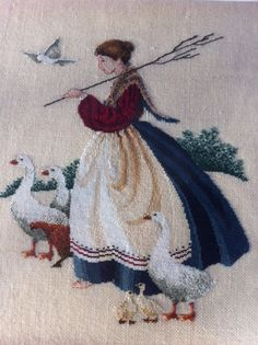 Counted Cross Stitch - Butternut Road, Feathers & Friends  My mom x-stitched this for me years ago but on a darker tan linen. I love it!