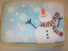 WASC with cherry filling. Buttercream frosting with spray of baby blue. Fondant snowman. Snowflakes and dots are royal icing with sugar spri...