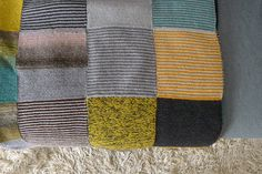 Handknitted Blanket multicolor: grey yellow by MariameliaShop