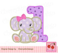 Baby Elephant with Birthday Number 1,Cute girly elephant,Animal digital applique…