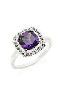 New Directions® Silver-Tone Amethyst Square Cubic Zirconia Boxed Ring