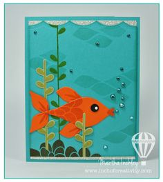 Inch of Creativity: Gone Fish'n - Flower Patch and Flower Fair Framelits (and the owl punch) create the fun fish scene.