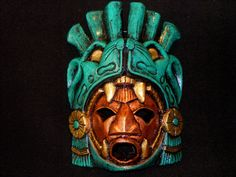 Large Aztec Warrior Mask Stone Jaguar Calendar Mayan Mexican Art Maya interesting way of interrupting the jaguar into the mask. framing the face.