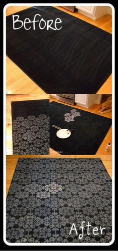 DIY :: Adding a stencil to a rug ( http://scoutandnimble.com/2012/02/10/kims-makeover-adding-a-stencil-to-a-rug/ )