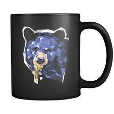 Graphic Honey Bear Animal Design on Black 11 oz mug