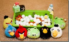 Angry Birds sensory bin. I have some of the little stuffed animals....I just need the smaller figurines....