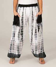 Look what I found on #zulily! Black & White Sublimated Wide-Leg Pants #zulilyfinds