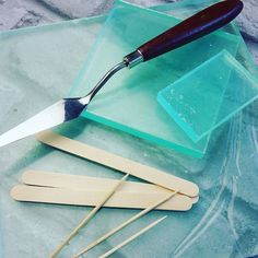Essential tools for the resin crafter. Acrylic blocks mixing sticks and palette knives. All available at www.resin8.co.uk  #resintools #resin #epoxyresin #epoxy #resinjewellery #resintips #loveresin