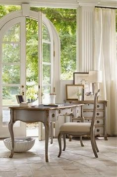 Fabulous French-inspired office...,especially love the doors!!