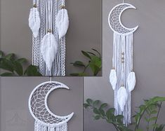 Moon dreamcatcher with feathers short, Crescent Moon macrame wall hanging, White dream catcher, Boho wall decor Giant Dream Catcher, Dream Catcher Decor, Moon Dreamcatcher, Macrame Wall Hanging Diy, Knitting Machine Patterns, Macrame Projects, Macrame Patterns, Diy Home Crafts, Etsy