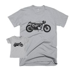 Cafe Racer Dad And Baby Matching Shirt, Vintage Motorcycle Father Son Matching Shirts, New Dad Shirt, First Fathers Day Gift, Norton Bike by MONOFACESoADULT on Etsy