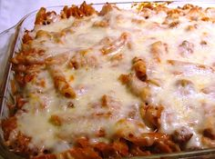 cheesy baked pasta with meat sauce - easy and simple ingredients