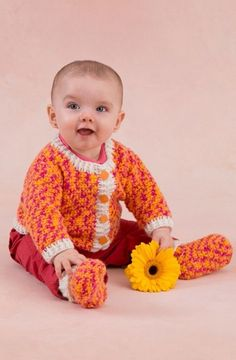 Happy Girl Cardigan and Booties in Red Heart Anne Geddes Baby - LW3426. Discover more Patterns by Red Heart Yarns at LoveCrochet. We stock patterns, yarn, hooks and books from all of your favorite brands.