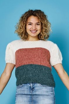 Strikket sweater i Alice by Permin med korte pufærmer Alice, Kobe, Crochet Top, Knitting, Sweatshirts, Sweaters, Image, Fashion, Velvet