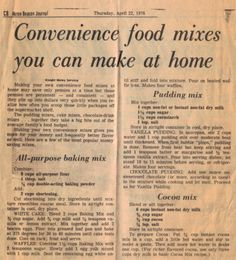 Convenience Food Mixes You Can Make At Home - All Purpose Baking, Pudding and Cocoa Mix! Retro Recipes, Old Recipes, Cookbook Recipes, Vintage Recipes, Homemade Cookbook, Cookbook Ideas, Vintage Food, Family Recipes, Easy Recipes