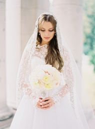 High Fashion Russian Wedding - Style Me Pretty....Love the veil...lace is so beautiful