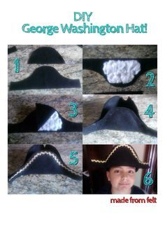 DIY: George Washington Hat for Kids No sewing needed(I hot glued it all)!