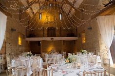 beautiful wedding breakfast setup. great tythe barn wedding