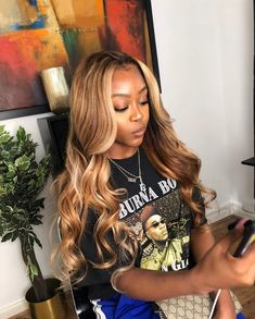 Lace Frontal Wigs Hair Joe Keery Hair Affordable Lace Front Wigs Sew In Hair Near Me Curly Synthetic Lace Front Wigs Ash Blonde Hair Dye, Blonde Hair Black Girls, Dyed Hair, Blonde Weave, Blonde Honey, Honey Balayage, Wig Styles, Curly Hair Styles, Natural Hair Styles