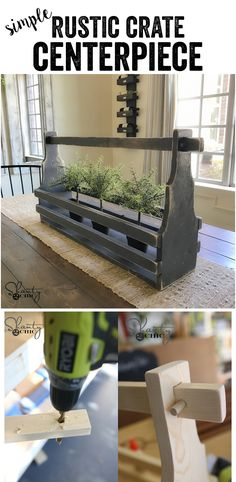 One of our favorite projects to build (and change up) are dining table centerpieces.  We have created SO many over the last several years.  It's one of the easiest ways to update your dining room or change it out from season to season.  Our friends at Ryobi Toolsfollow asked us to create one, and this is what we came up with! Check out this simple DIY Rustic Crate Centerpiece!