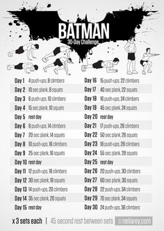 Batman Challenge  free printable workouts: http://neilarey.com/workouts.html