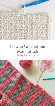 Crochet Stitches Patterns How to Crochet the Mesh Stitch - Pattern Start with an even number of chains. SC in the chain from the hook and CH … Crochet Stitches Free, Tunisian Crochet, Crochet Basics, Crochet For Beginners, Crochet Blanket Patterns, Knitting Stitches, Free Crochet, Stitch Patterns, Free Easy Crochet Patterns