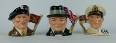 Collectors & General Auction – Lot 540 – A collection of small Royal Doulton character jugs to include Earl Mountbatten of Burma 1900-1979 D6851, Viscount Montgomery of Alamein 1887-1976 D6850 and Sir Winston Churchill 1874-1965 D6849 (3). Sale Price £70.00