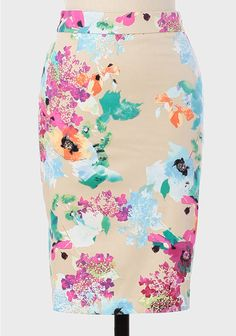 Canopy Floral Pencil Skirt: jade green blouse, powder blue cashmere, black for autumn, violet pink, beige pink blouse