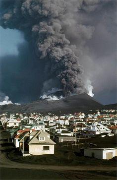 Volcanic eruption in Vestmannaeyjar, 1973.