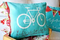 a few of my favorite colors... love bikes to decorate with too.  adorable pillow.