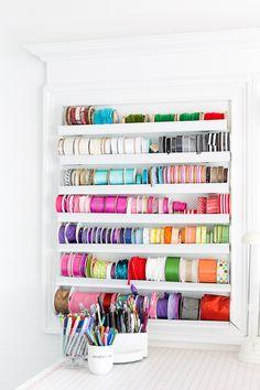 DIY ribbon organizer to make for easy to access ribbon storage