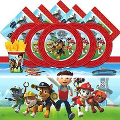 Paw Patrol Complete Party Supplies Kit For 16 Plates Cups Napkins Table Cover