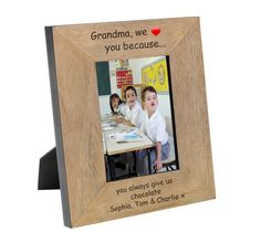 Treat Grandma with a personalised photo frame from her grandchildren.  4x6 or 5x7.  Landscape or portrait.  Freepost