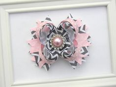 Girls Boutique Hair Bow  Pink and Grey Chevron by Avabowtiquee, $8.99