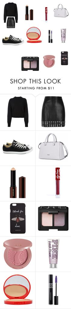 """Untitled #519"" by ceiraxox ❤ liked on Polyvore featuring Jil Sander, River Island, Converse, Hourglass Cosmetics, Lime Crime, Gucci, NARS Cosmetics, tarte, Bourjois and Christian Dior"