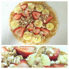 Protein power #breakfast! Fresh chopped #strawberries #banana slices #kashi #granola on top of a whole wheat #pita & #peanutbutter #yum #healthy #fruit #monday - @etomei88- #webstagram