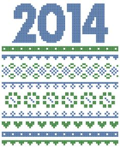 free cross stitch pattern ~ happy new year :)