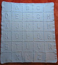 Crocheted ABC Baby Blanket Pattern (puff stitch letters)  Additional instructions at http://www.ravelry.com/patterns/library/babys-abcs-afghan and http://www.crochetnmore.com/babysabcsafghan.htm