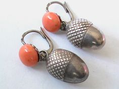 Antique French Silver Coral Acorn Earrings